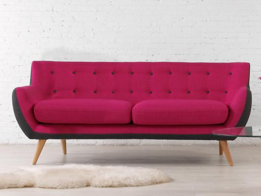 Colore magenta per il soggiorno, Vente Unique, divano SERTI
