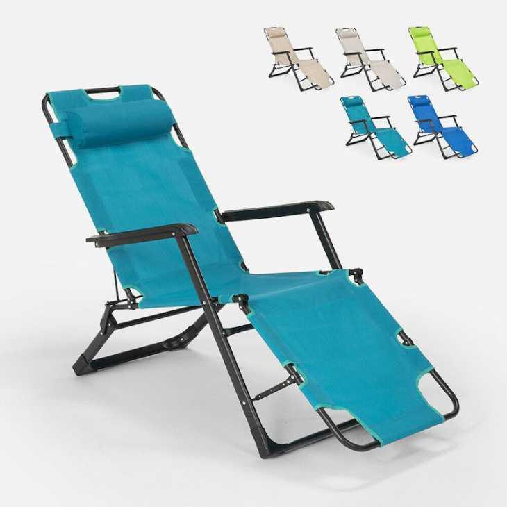Emily Lux Zero Gravity deck chair, light blue - Photo: eBay