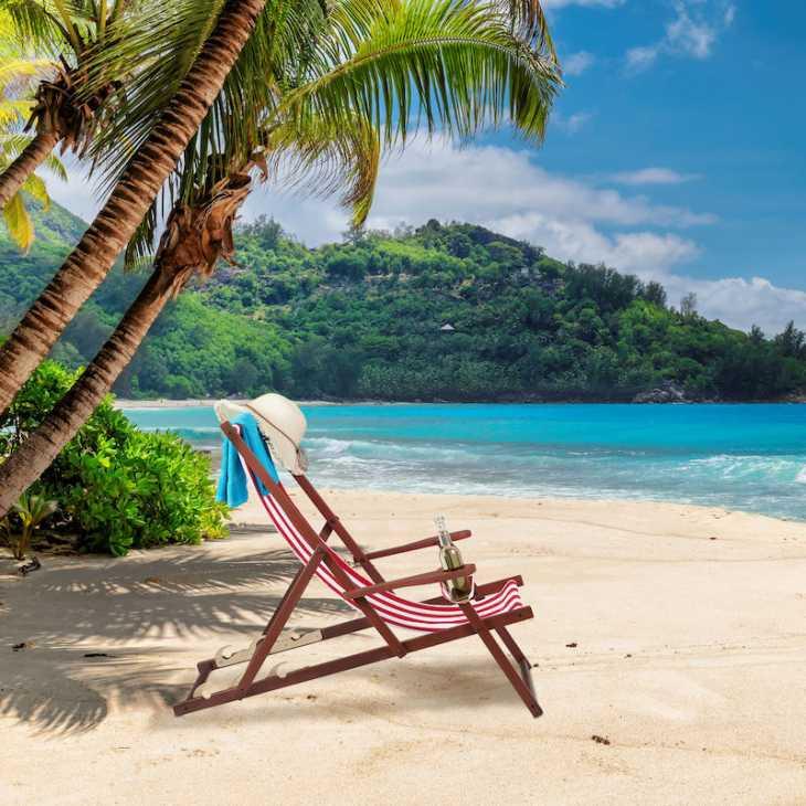 Relaxdays deckchair, red - Photo: eBay