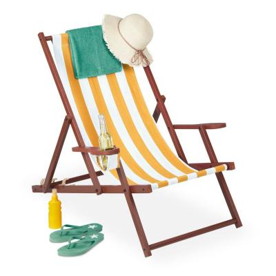 Relaxdays deckchair, yellow - Photo: eBay