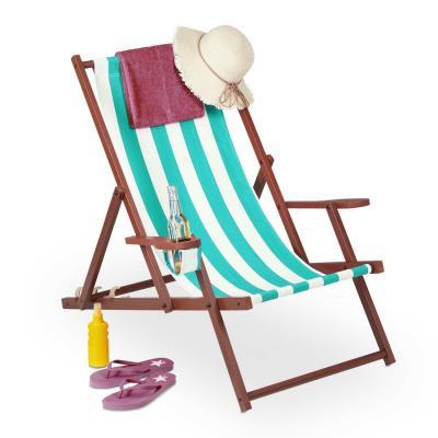 Relaxdays deckchair, light blue - Photo: eBay