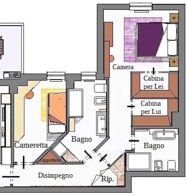 Casa individual expuesta: plano de área de dormitorio amueblado