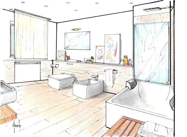 Segundo baño con bañera: dibujo del proyecto