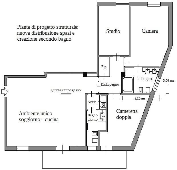 Obtener un segundo baño: proyecto de plano de apartamento