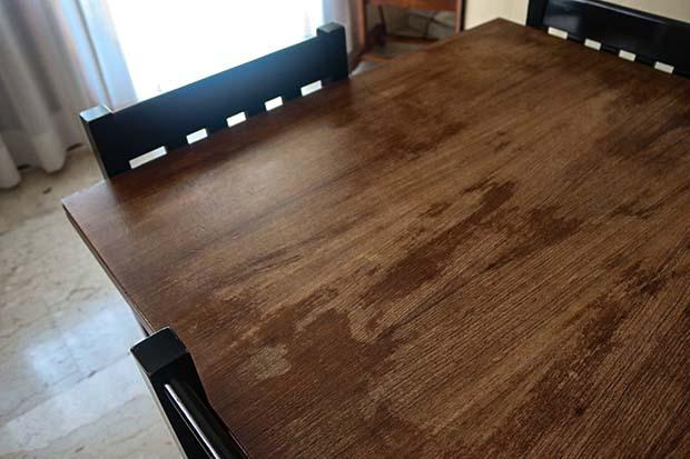 Stained surface of a very worn table