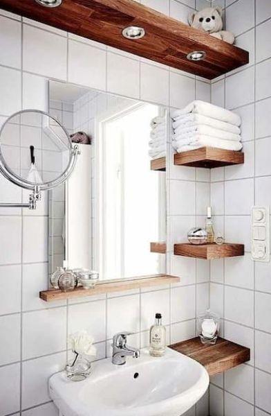 Los estantes que ahorran espacio son muy útiles en un baño pequeño - Pinterest