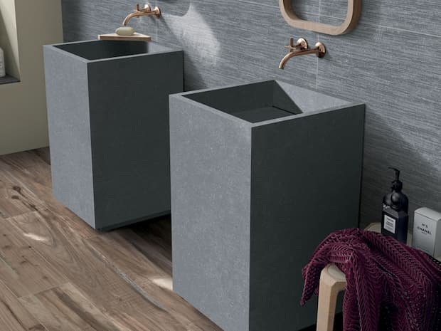 Stone gray pedestal washbasin Abk design