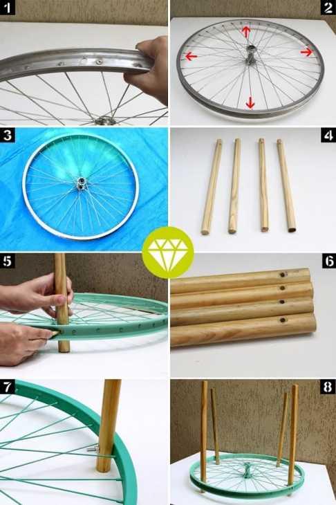 Mesa auxiliar de bricolaje con rueda de bicicleta, de joiadecasa.com.br