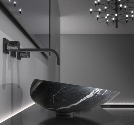 Glass Design, particolare lavabo Kool per il bagno, in marmo nero