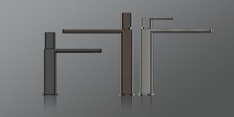 Guglielmi Rubinetterie, collezione GX in metallo per il bagno in marmo nero