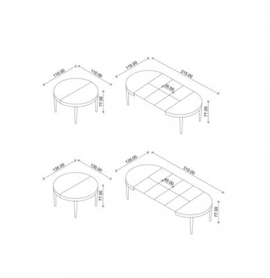 Allungamento del tavolo rotondo Damo-C di Piemy
