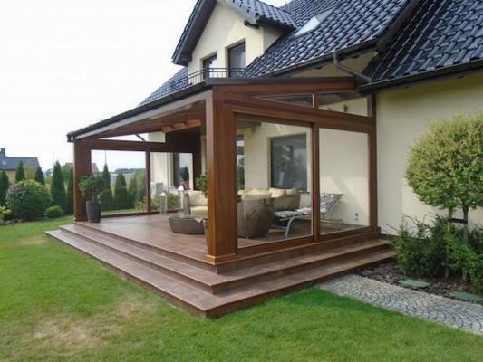 Una tettoia in legno può essere appoggiata al muro o autoportante - Pinterest