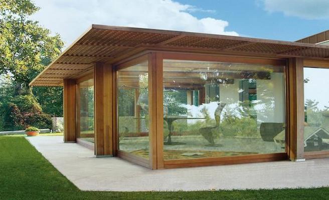 Se chiusa con vetrate la tettoia può essere vissuta anche d'inverno - Pinterest