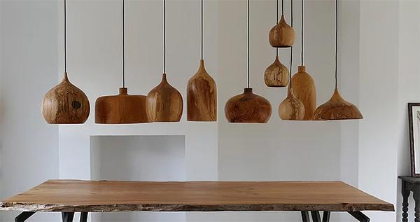 Wooden Chandeliers Dome Pendants by Tamasine Osher