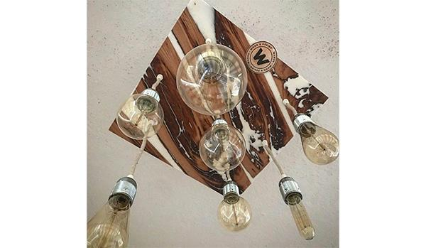 Chandelier in chestnut wood and white resin by Wanos