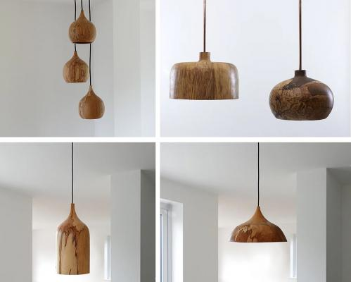 Lampadari in legno Cupola Pendants by Tamasine Osher