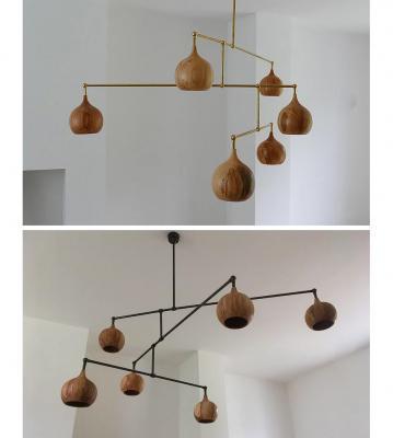 Lampadari a sospensione in legno Cupola Chandelier by Tamasine Osher