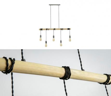 Lampadario industriale di bamboo Luce di Miliboo