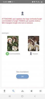 Screenshot dell'app per identificare i funghi