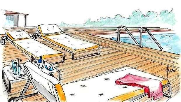 Progetto per la zona solarium bordo piscina