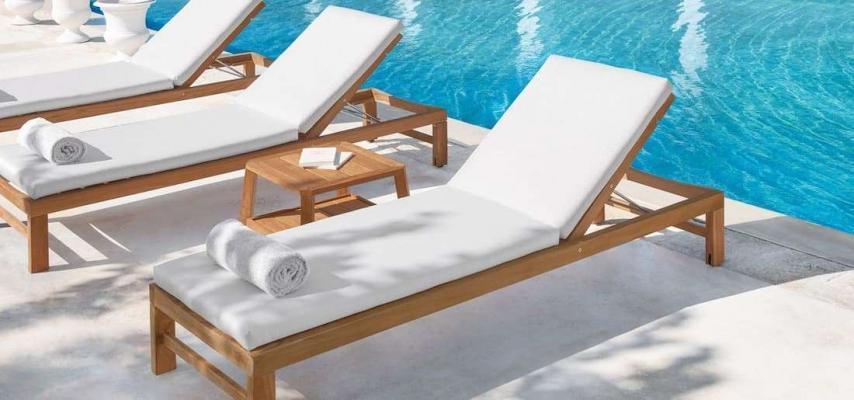 Solarium piscina - Sand Teak Sunbed Ethimo