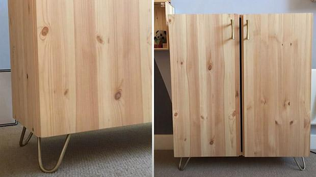 Ivar cabinet with assembled legs and handle ready to be decorated - photo by Pinterest