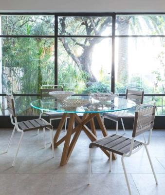 Tavolo outdoor indoor vetro teak Chelsea Unopiù