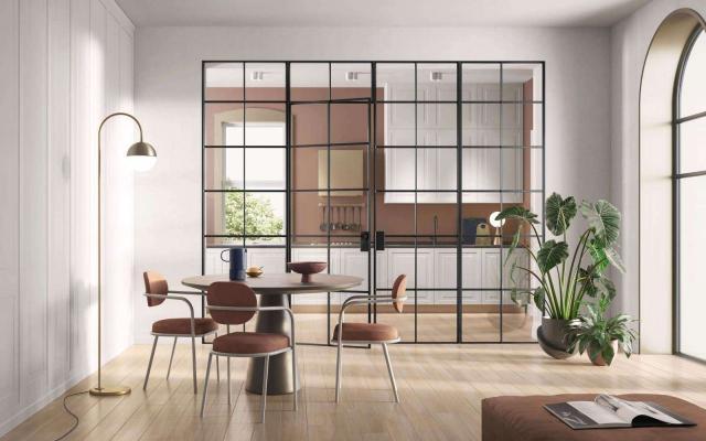 Loft cucina con porta a vetro Garofoli