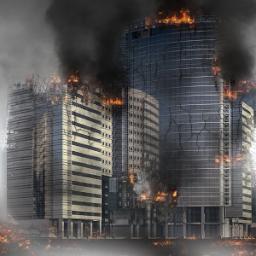 Incendio edifici con propagazione di fumi e fiamme