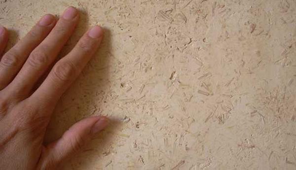 Textura del yeso aislante Calcecanapa Termointonaco de La Banca della Calce