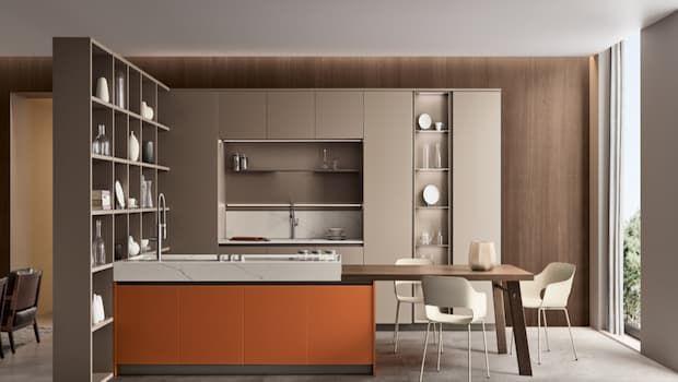 Una cucina arancione per ambienti caldi e accoglienti