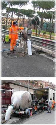 Riparazioni e sostituzione di fognature senza scavi: una fase dell'incamiciamento del tratto da riparare