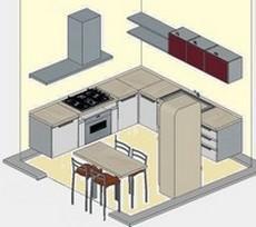 Cucina ad angolo con basi sospese.