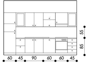 configurazione cucina con moduli standard