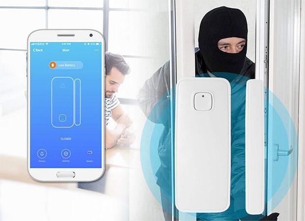 Sensore allarme di sicurezza interruttore Magnetico Rilevatore wireless compatibile con Alexa e Google Home