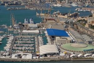 Genova.Veduta del polo fieristico con il pad. B di J. Nouvel. fonte:www.fiera.ge.it