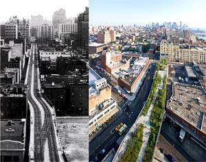 La High Line prima e dopo l'intervento di riconversione ( image source: www.dsrny.com )