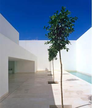 Casa Guerrero: il patio posteriore con la piscina (  immagine tratta dal sito www.campobaeza.com )