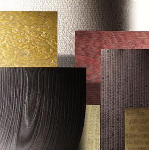 Rivestire con legno e tessuto : l'evidenza della trama lignea