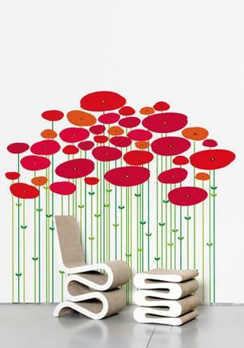 Wall paper: esempio di composizione floreale stilizzata