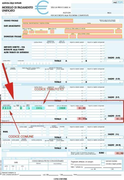 Modello F24 per pagamento ICI