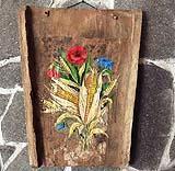 embrice decorato  amano, con découpage e pittura
