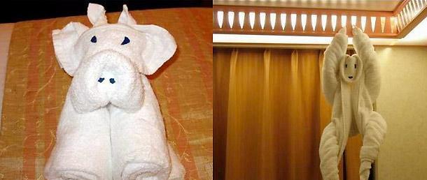Piegare asciugamani a forma di animali