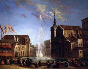 The Water Supply of Lozoya at the Fountain of the Calle de San Bernardo, 1858 (oil on canvas)