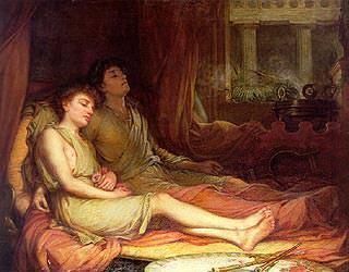 Hypnos, dio greco del sonno, e suo fratello, Thanatos, dio della morte,