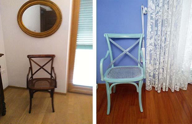 Sedia prima e dopo il restyling. Progetto di Giuseppe Panico
