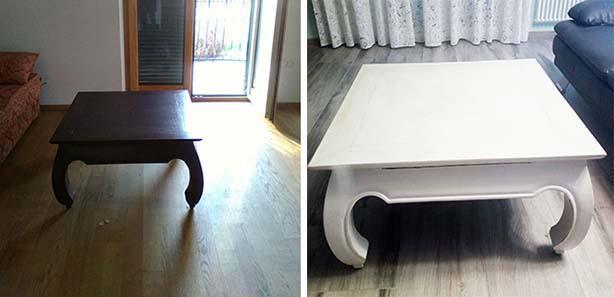 Tavolino prima e dopo il restyling. Progetto di Giuseppe Panico