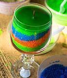 Candela fai da te in bicchiere di vetro, a più strati di colore