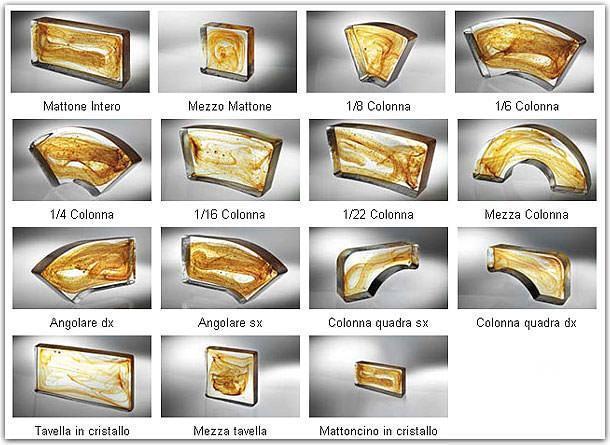 Forme disponibili di mattoni in vetro