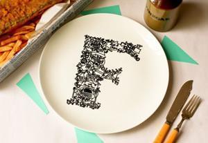 Alphabet Ceramic Plates_PIatti con alfabeto_Just Noey